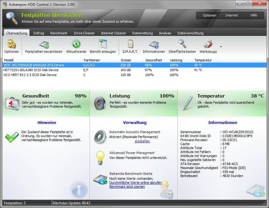 Скачать Ashampoo HDD Control 2.04 + Rus.