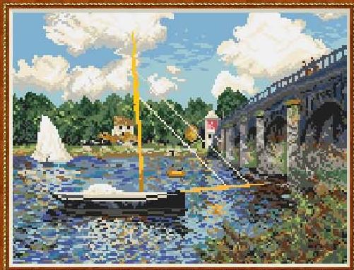 Вышивка крестиком с лодками 37