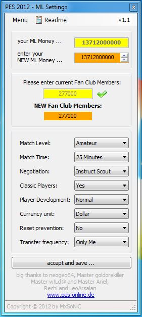 PES 2012 Master League Settings 1.1 by MxSoNiC