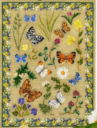 Бабочки, бабочки.  Вышивка крестом, схемы.