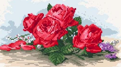 Алые розы.  Вышивка крестом, схемы.  СХЕМА.