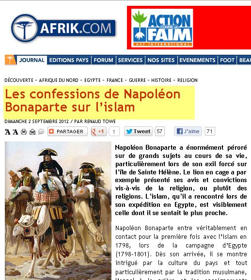 قنبلة شهادة نابوليون بونابارت بخصوص الاسلام
